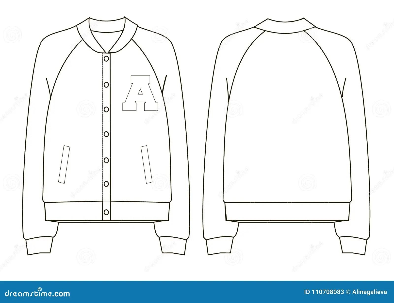 Unicollegeer Jacket Technical Sketch Stock Vector
