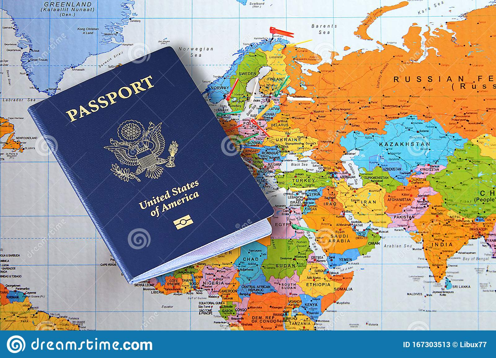 United States America Passport Stock Photos