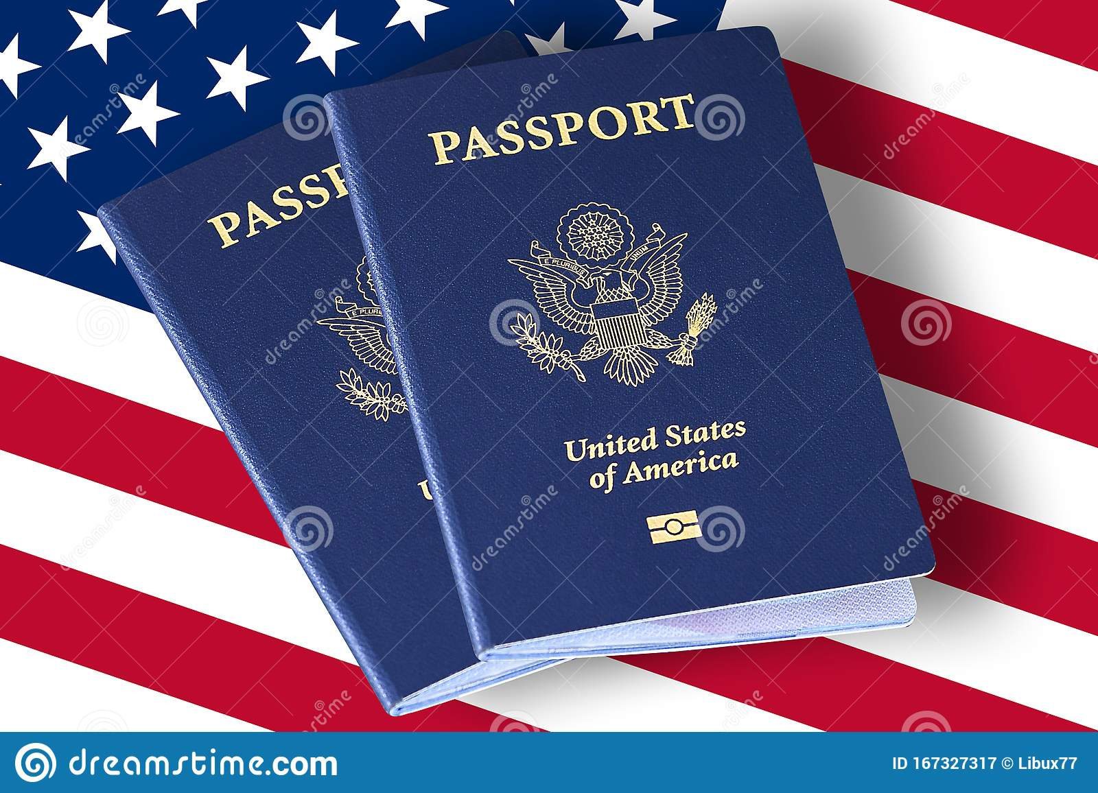 United States Of America Passports On Usa Or American Flag