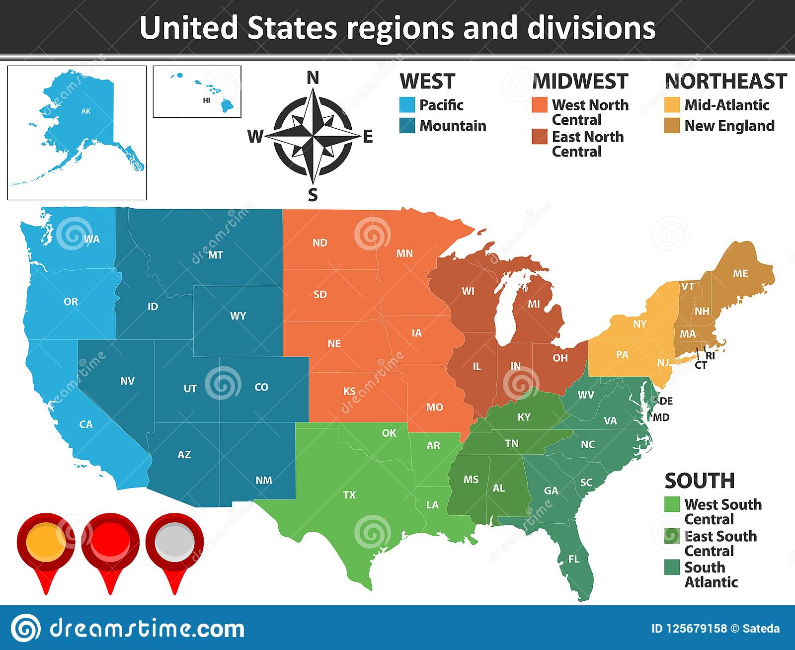 United States Regions And Divisions Stock Vector