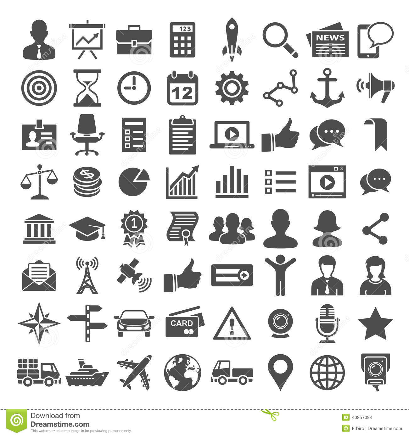 Universal Icon Set 64 Icons Stock Vector