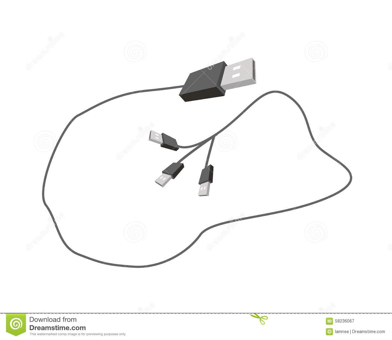 Universal Serial Bus Cable On White Background Stock