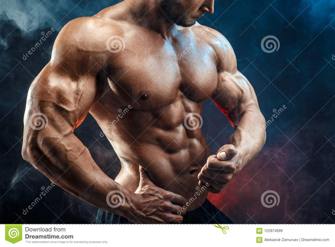 Unrecognizable Strong Bodybuilder Man With Perfect Abs