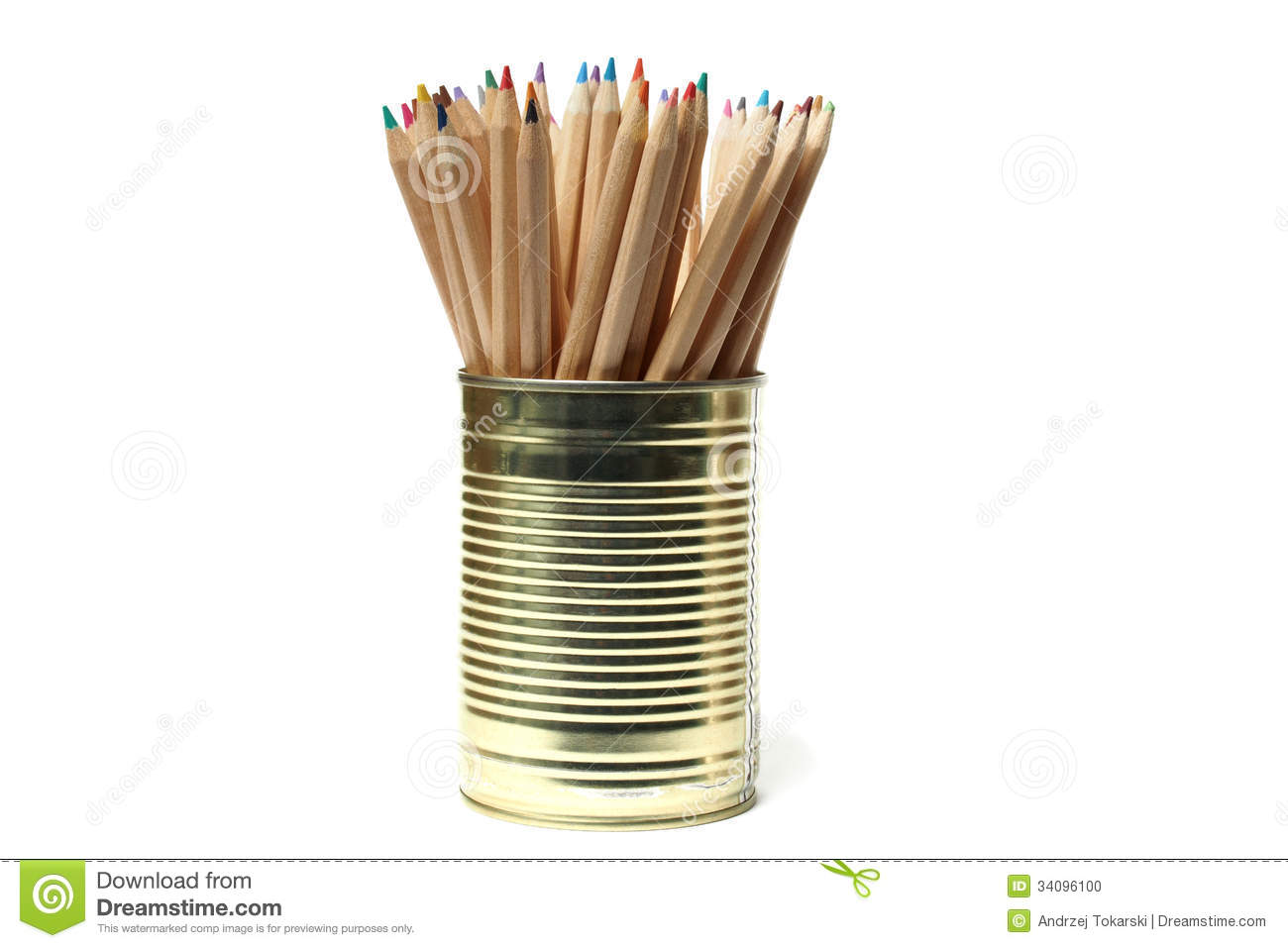 Upcycling Pencils In Tin Can Stock Photo Image Of