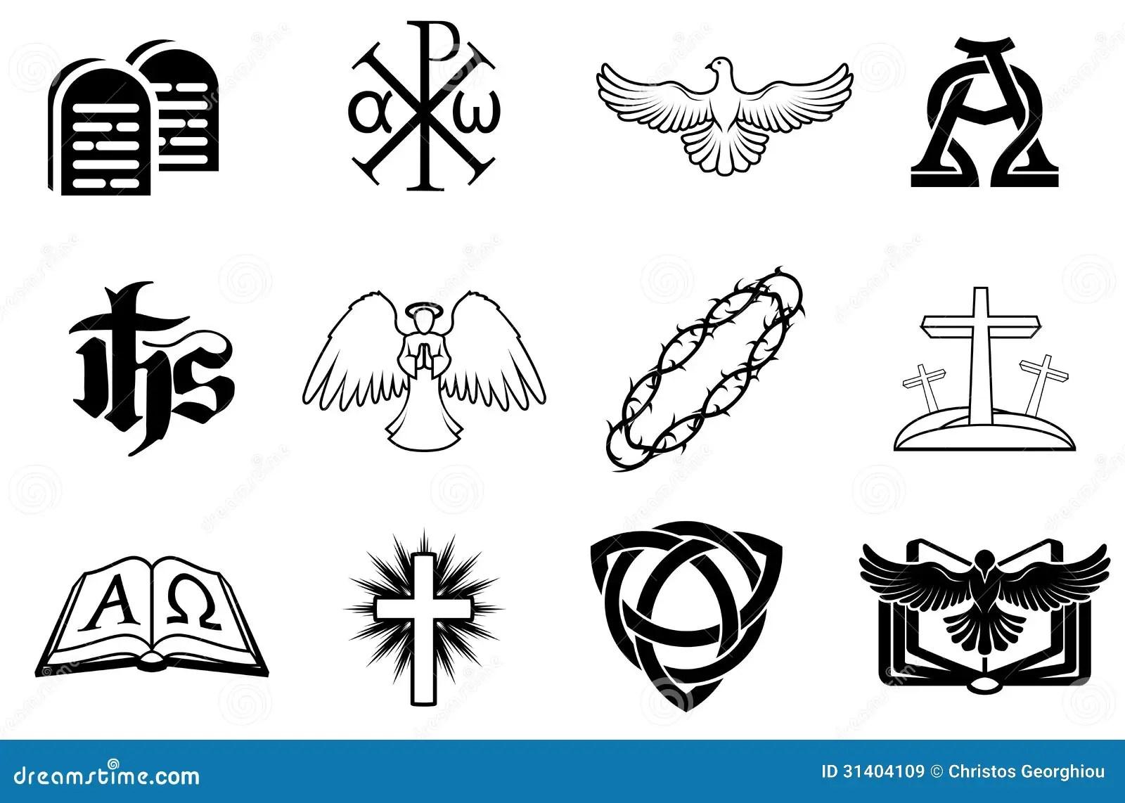 Uppsattning Av Kristna Symboler Vektor Illustrationer