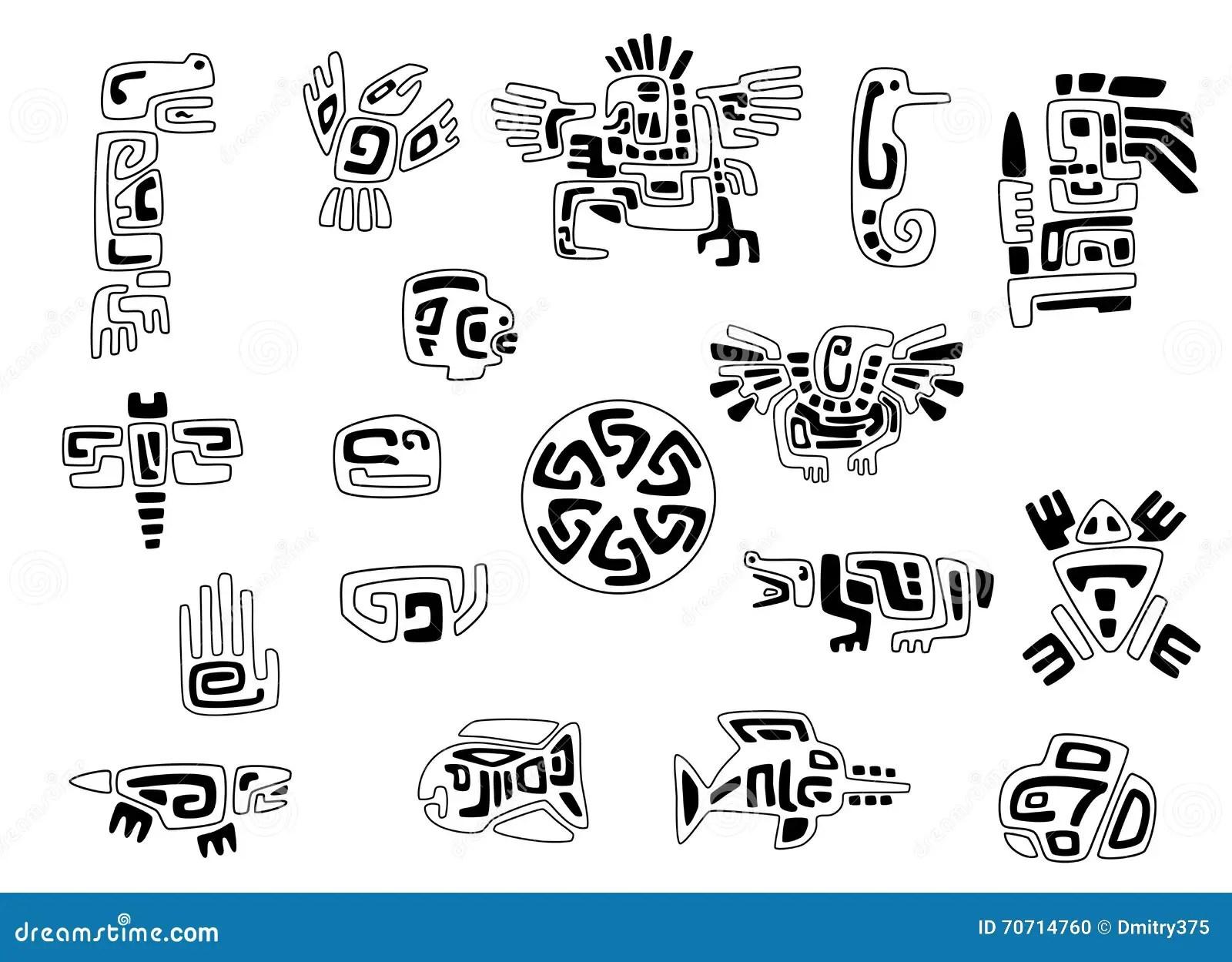 Uppsattning Av Stiliserade Indiansymboler Vektor