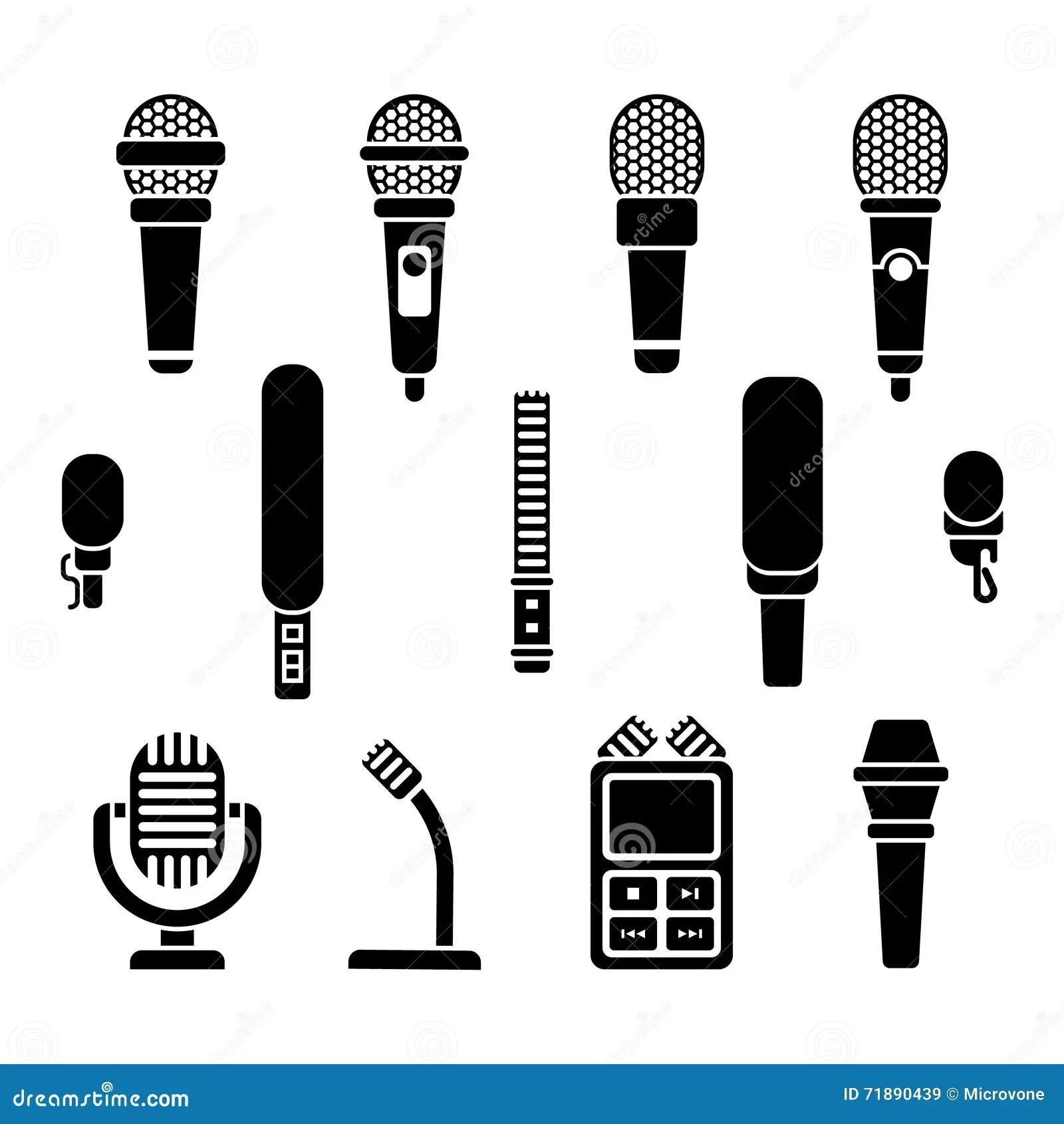 Uppsattning For Vektor For Symboler For Mikrofontyper
