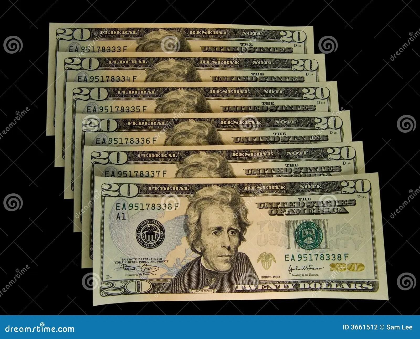 Us 20 Dollars Bills Stock Photo Image Of Dollar