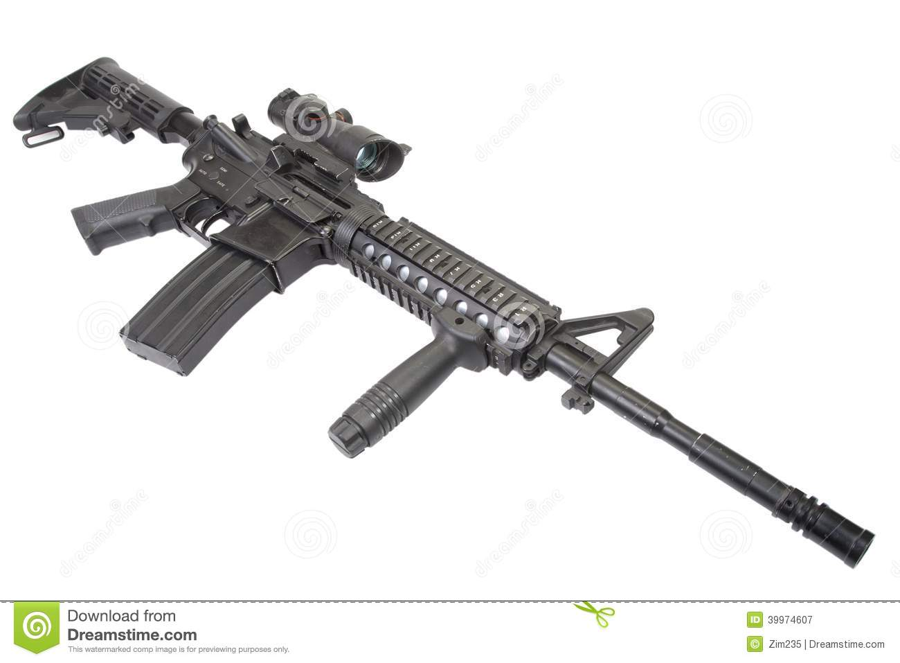 Us Army Carbine With Silencer Isolated On A White