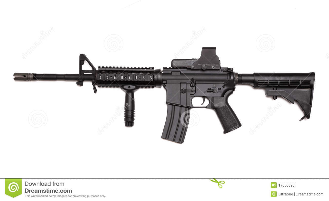 Us Army M4a1 Rifle With Holographic Sight Stock Photo
