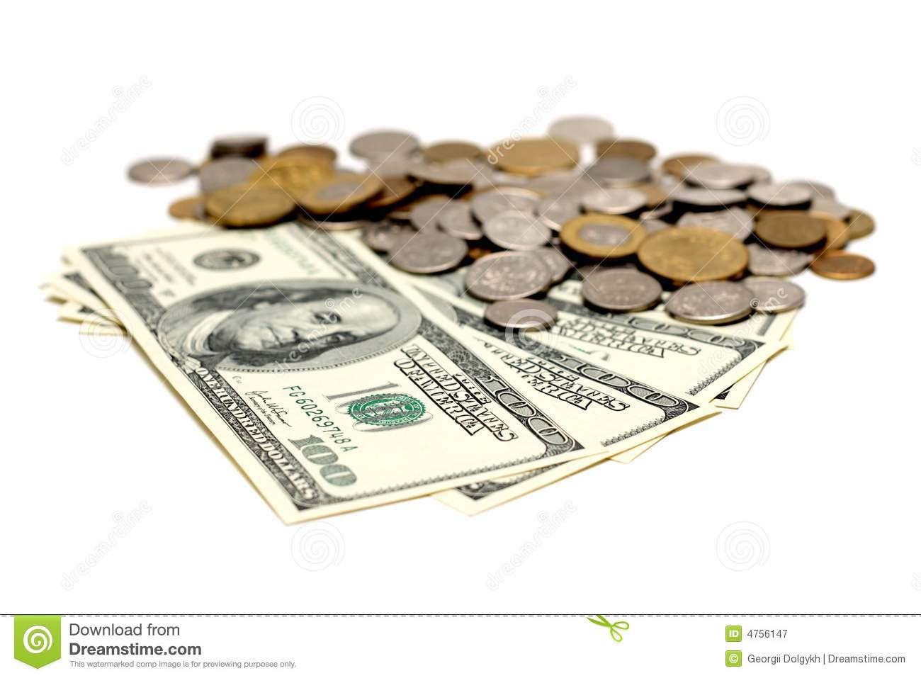 Us Dollar Bills And European Coins Stock Image