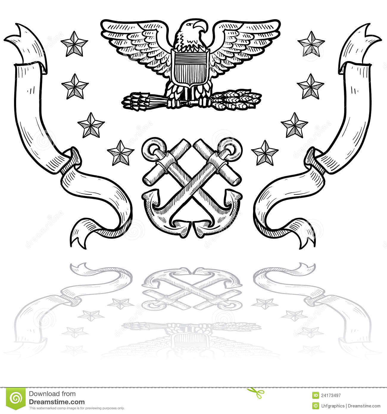Us Navy Insignia With Ribbons Stock Vector