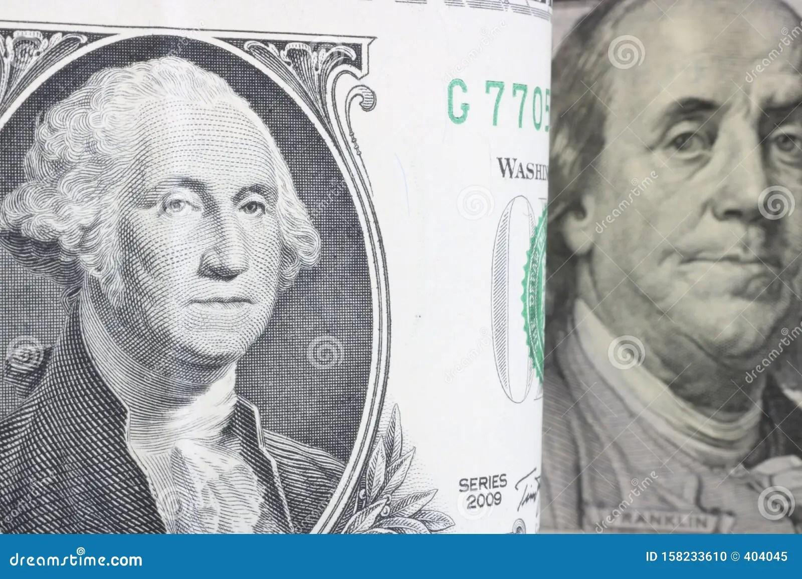 Us President Washington On A Bent 1 Dollar Bill Close Up