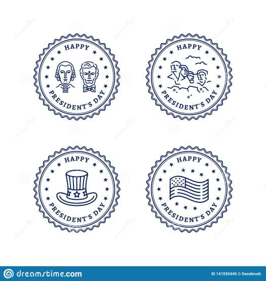 USA Icons Set, Presidents Day Round Stamps. Presidents Day ...