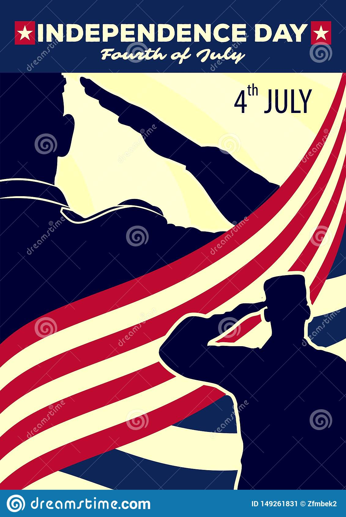 Usa Independence Day Poster Template Stock Vector