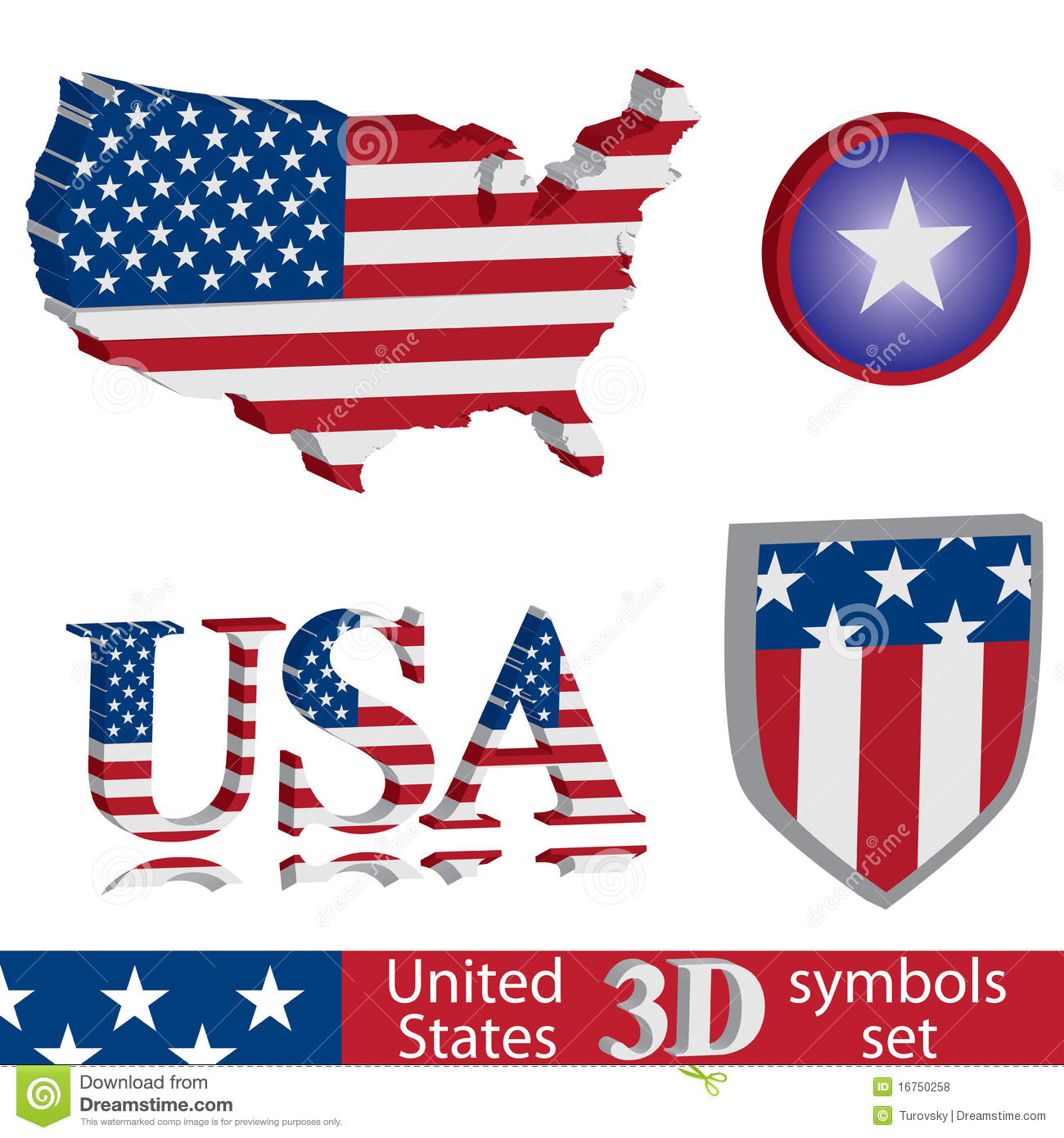 Usa Symbol Set Stock Vector Illustration Of Button Icon
