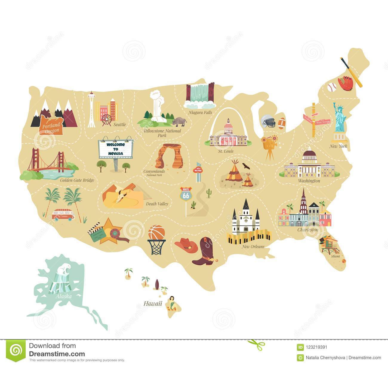 Usa Tourist Vector Map With Famous Landmarks Stock Vector