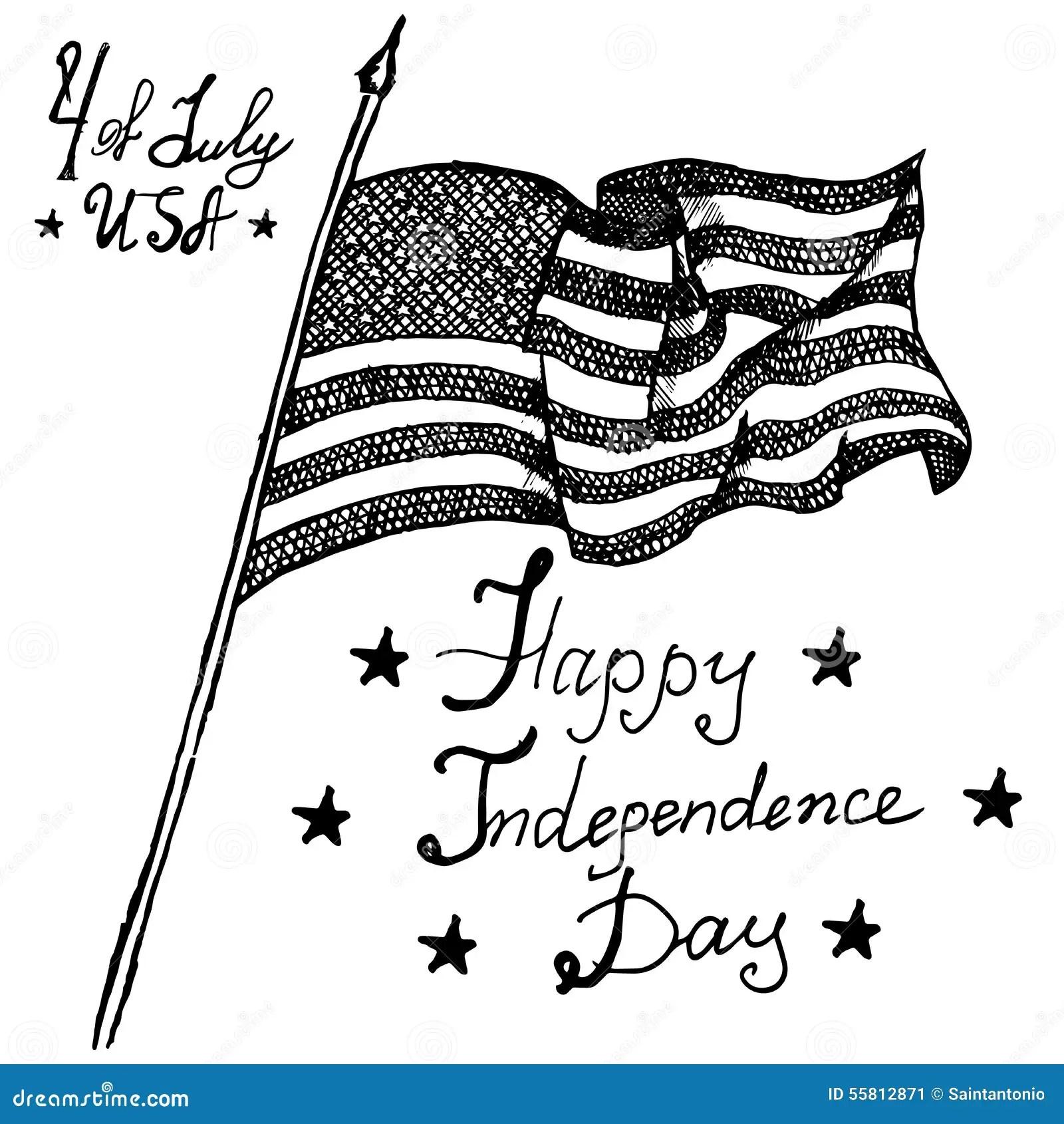 Usa Waving Flag American Symbol Forth Of July Hand