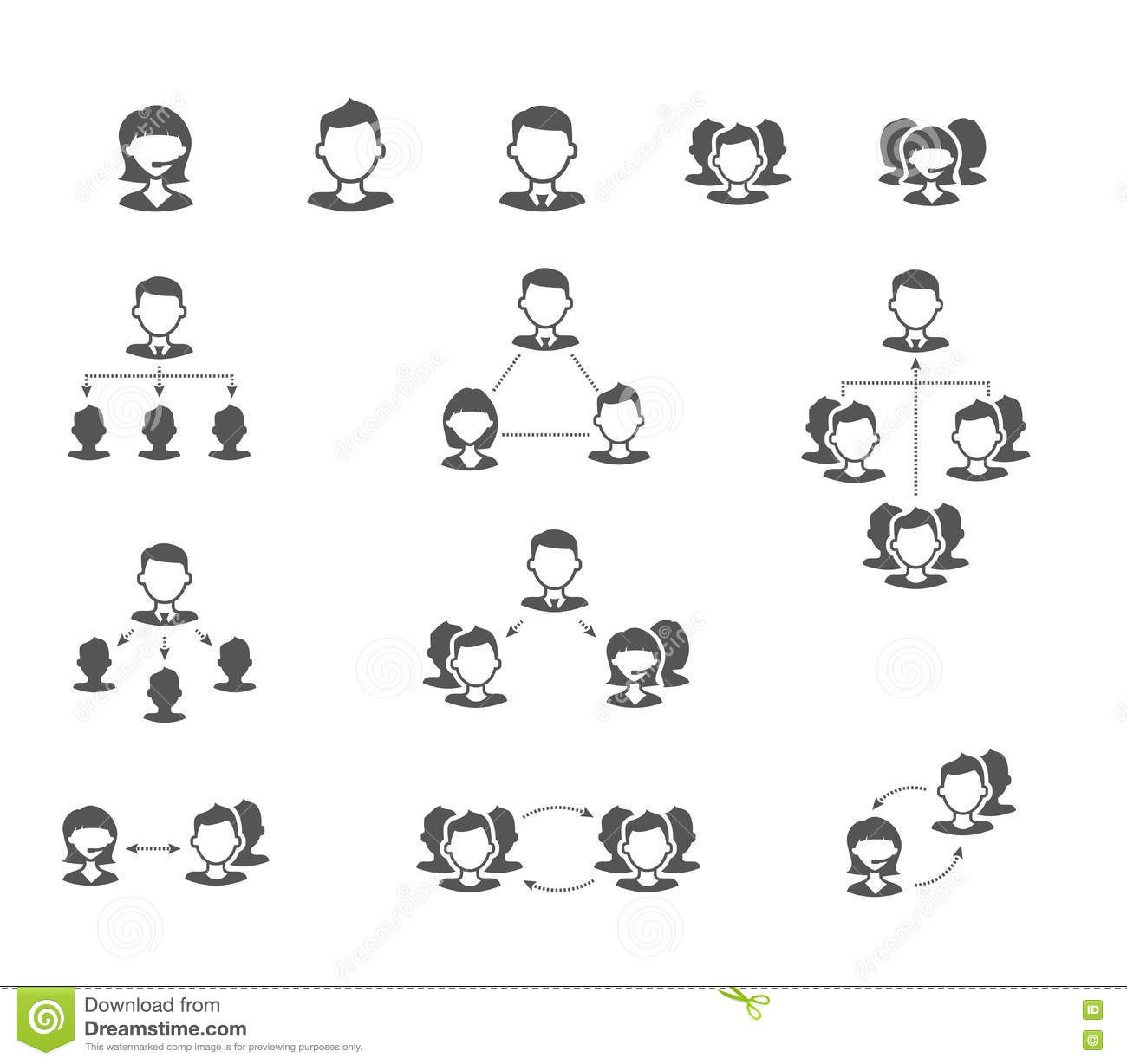 User Collaboration Diagram Flat Vector Icons Stock Vector