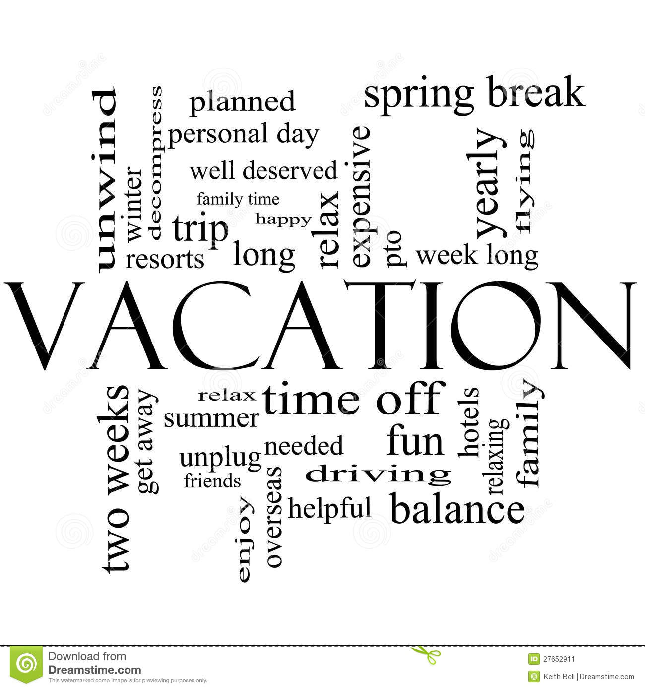 Vacation Word Cloud Concept In Black And White Stock