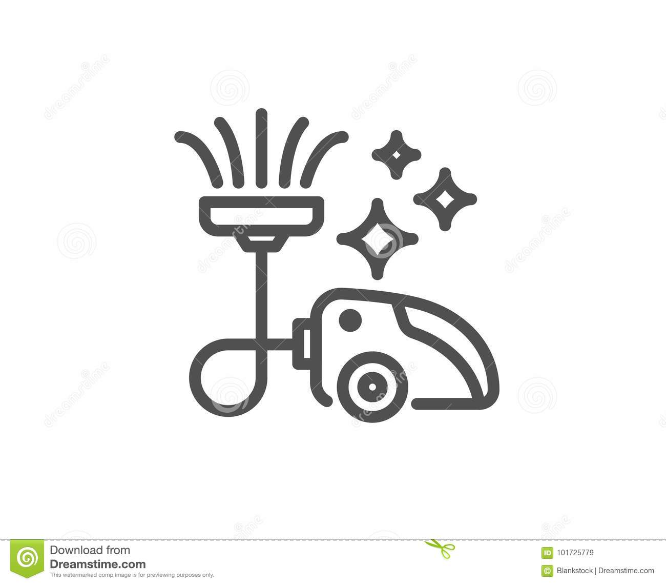 Vacuum Cleaner Line Icon Cleaning Service Stock Vector