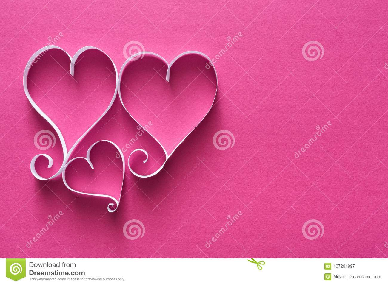 Valentine Background With Handmade Paper Heart Shapes