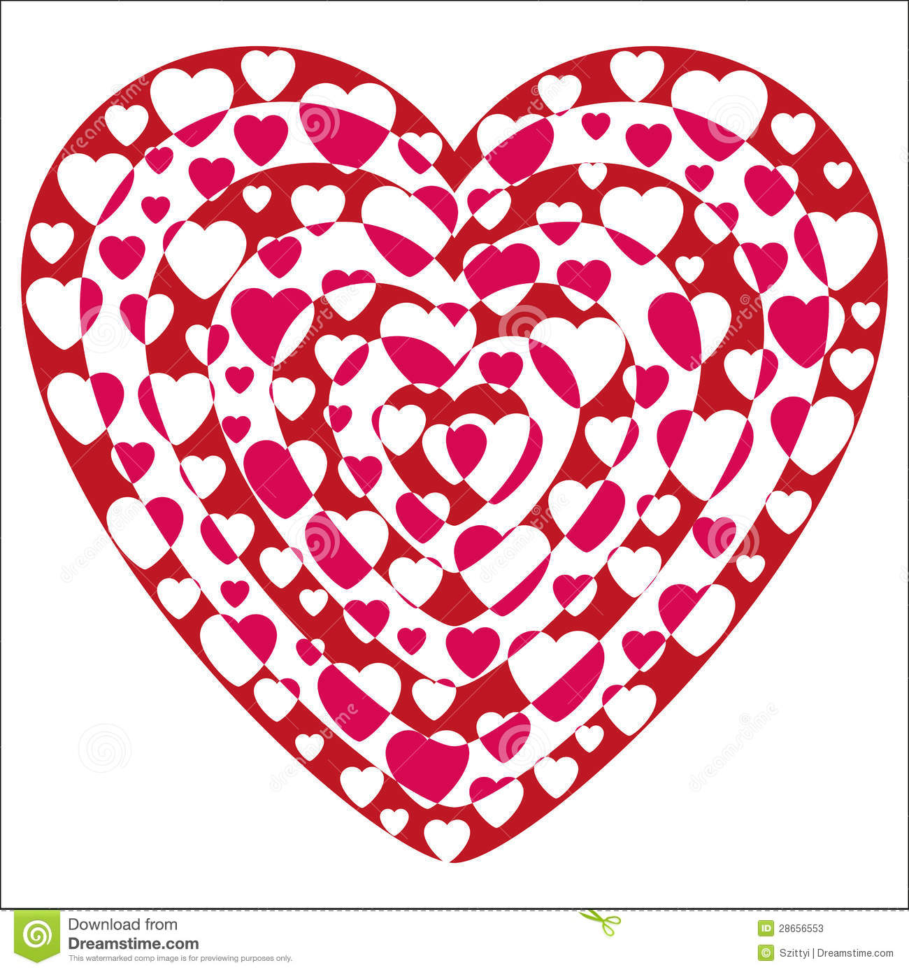 Valentine Heart Shapes Excluded Stock Vector