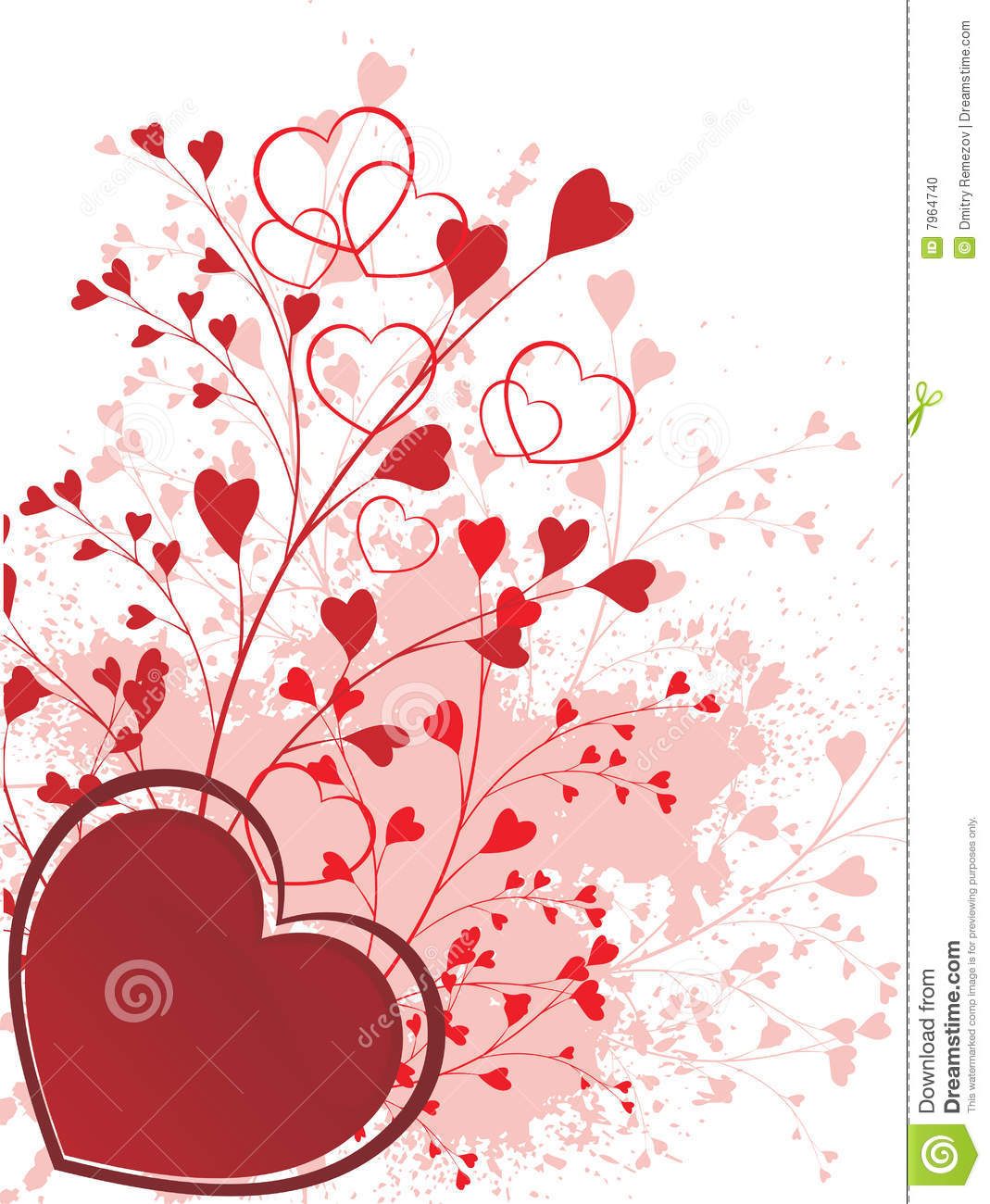 Valentine Ornament With Heart Shapes Stock Vector