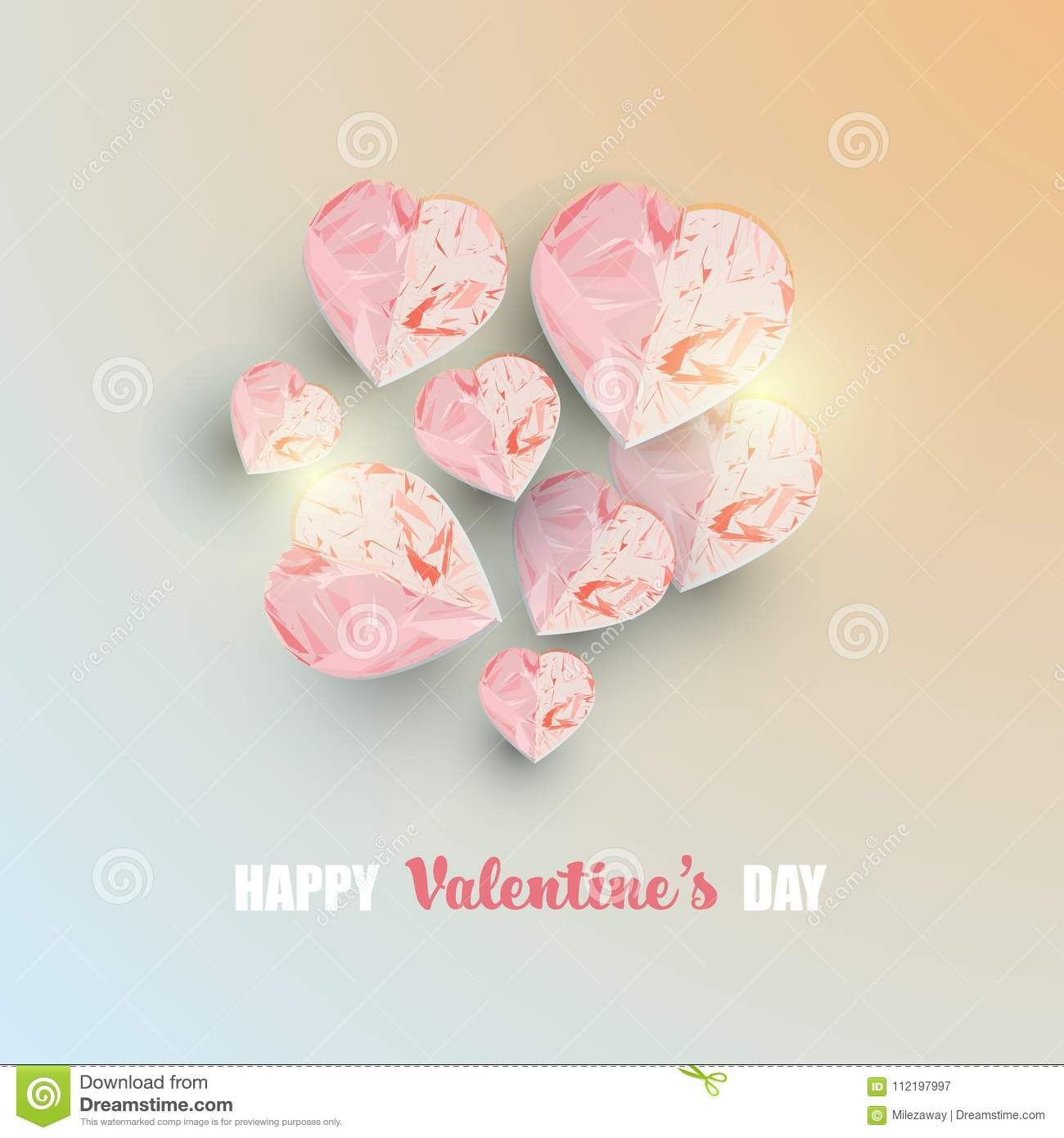 Valentine S Day Abstract Background With 3d Heart Shapes