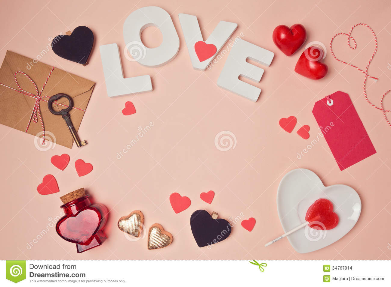 Valentine S Day Background With Love Letters And Heart
