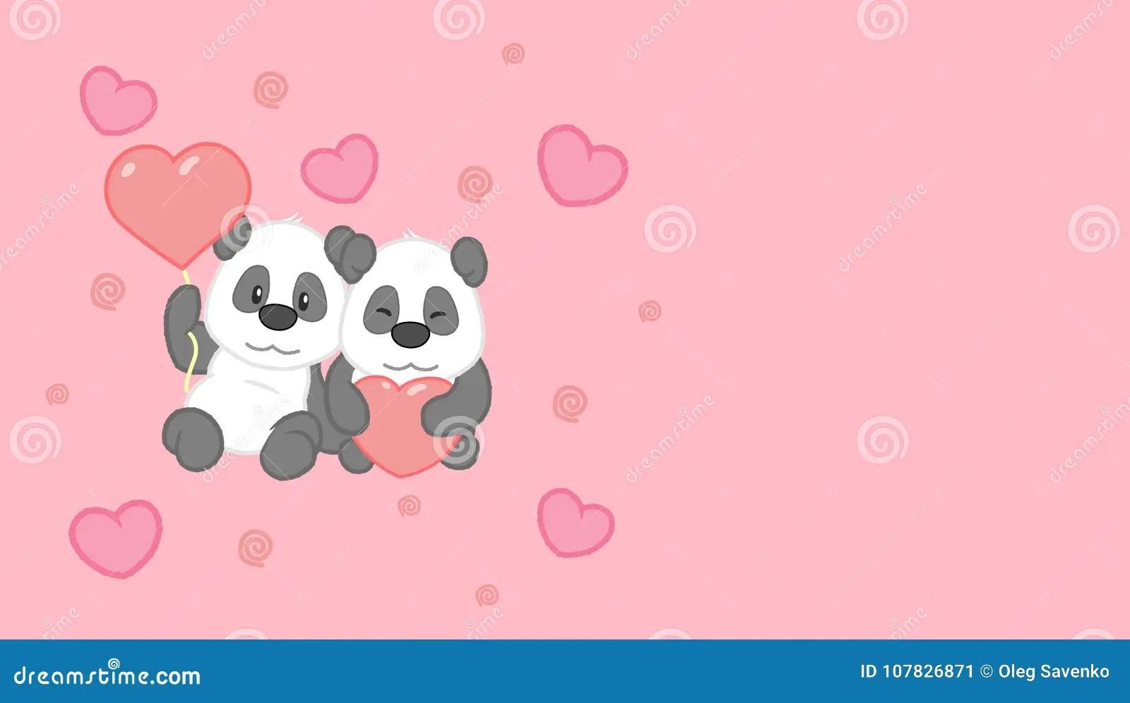 Valentine S Day Card Cute Panda Couple Vector Clip Art