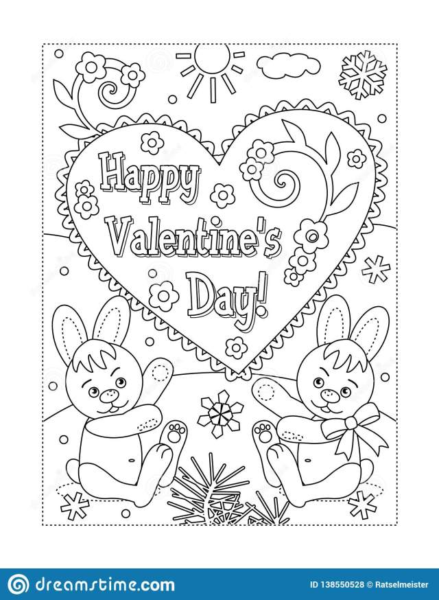 Valentine`s Day Coloring Page Stock Vector - Illustration of card