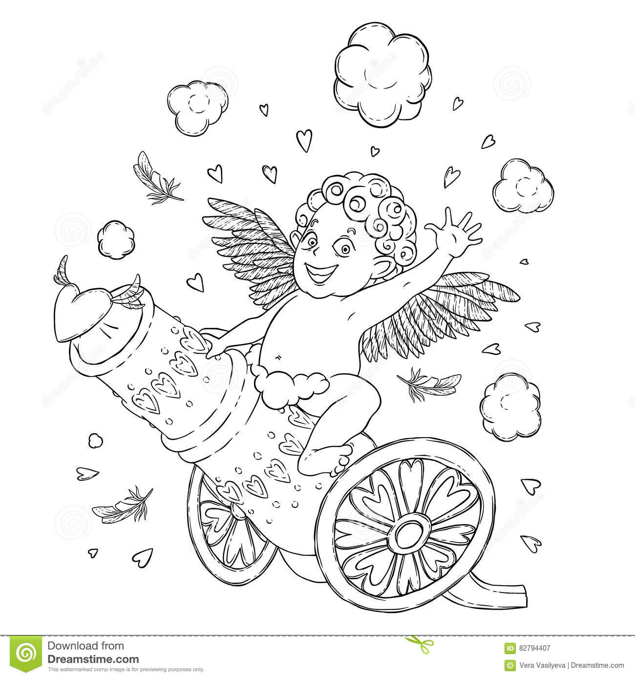Valentine S Day Funny Cupid Boy Riding On A Cannon Firing