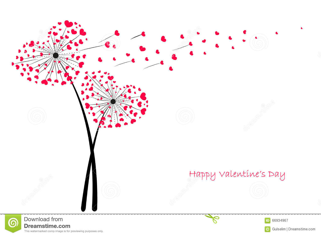 Valentines Day Love Dandelion With Red Hearts Greeting
