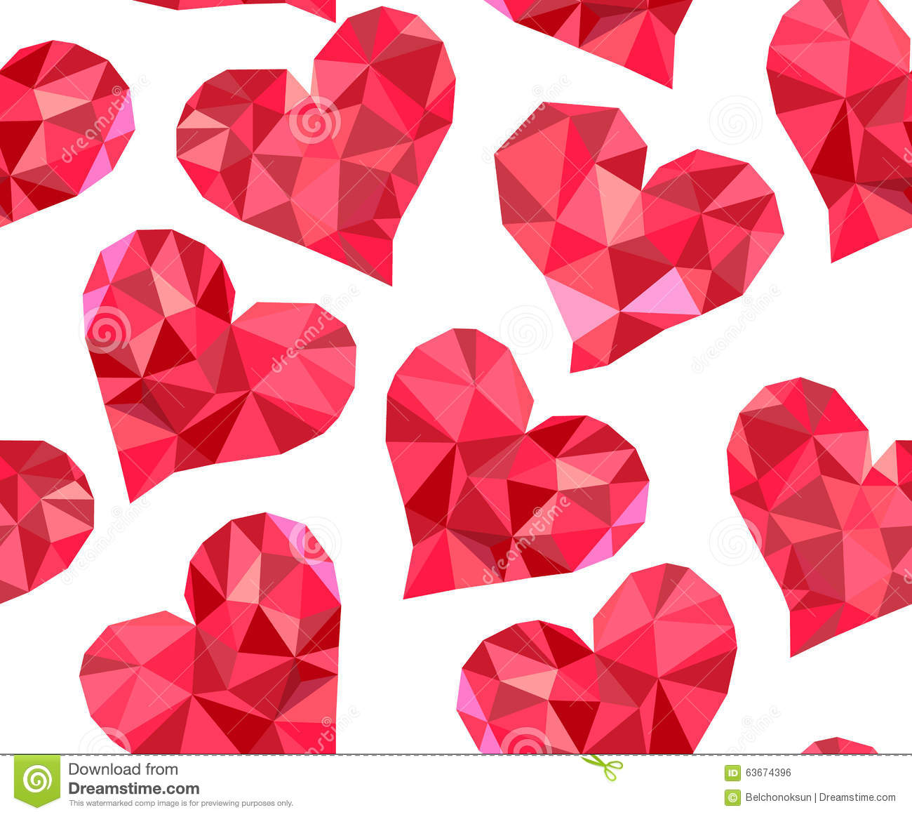 Valentine S Day Vector Seamless Pattern With Red Polygonal