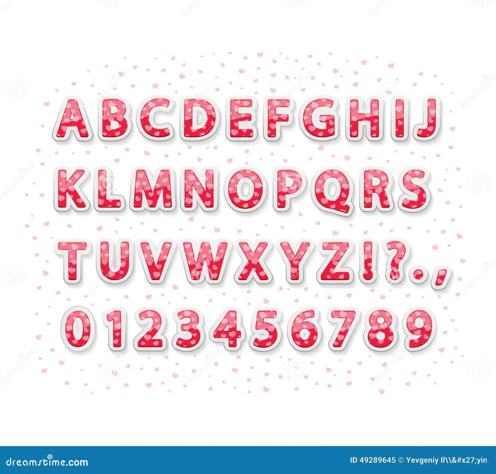 Valentines Alphabet Stock Vector