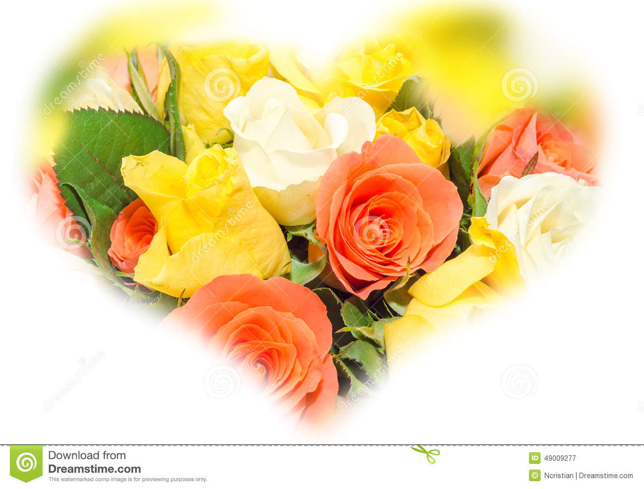 Valentines Day Flowers With White Orange Red And Yellow