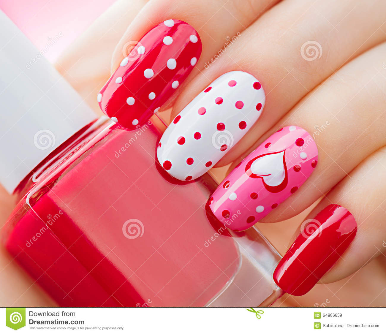 Valentines Day Holiday Manicure With Painted Hearts And
