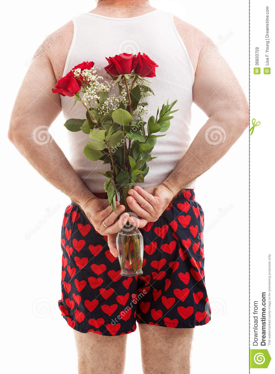 Valentines Guy In Underwear With Roses Royalty Free Stock