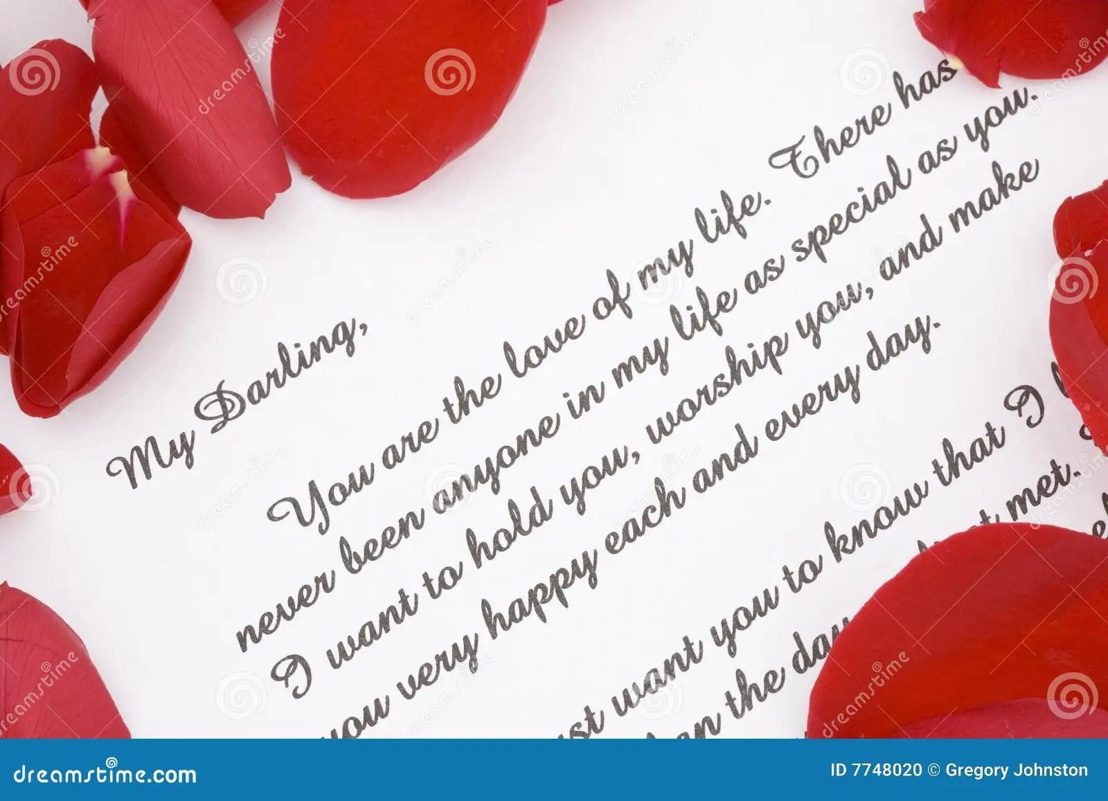 Valentines Love Letter Stock Photo