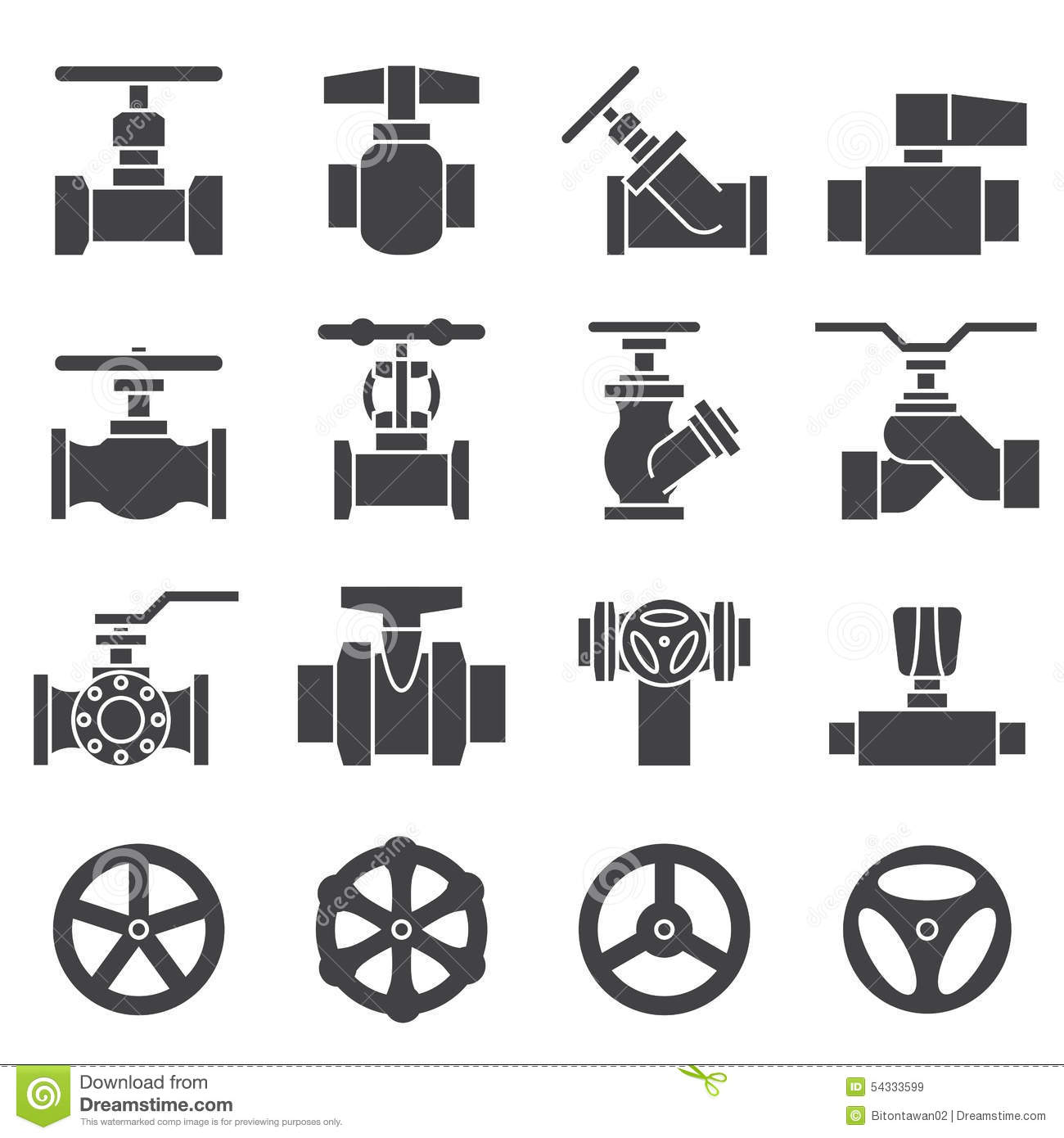 Valve And Taps Icon Set Stock Vector