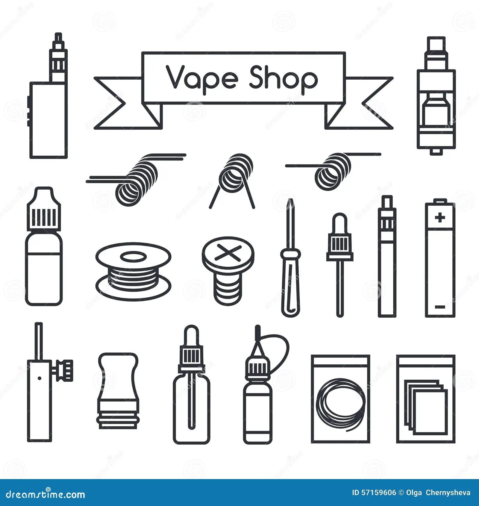 Vape Shop Icons Stock Vector
