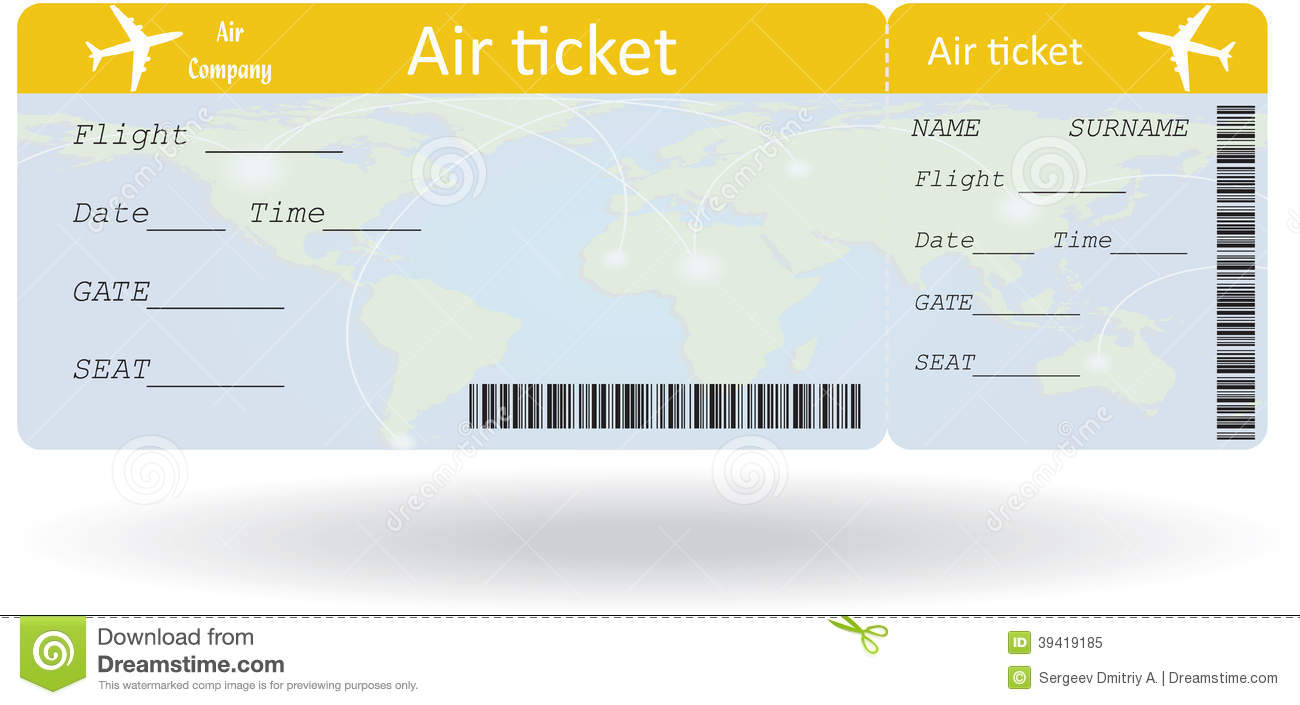 Printable Airline Ticket Template boarding pass stock vector – Plane Ticket Template
