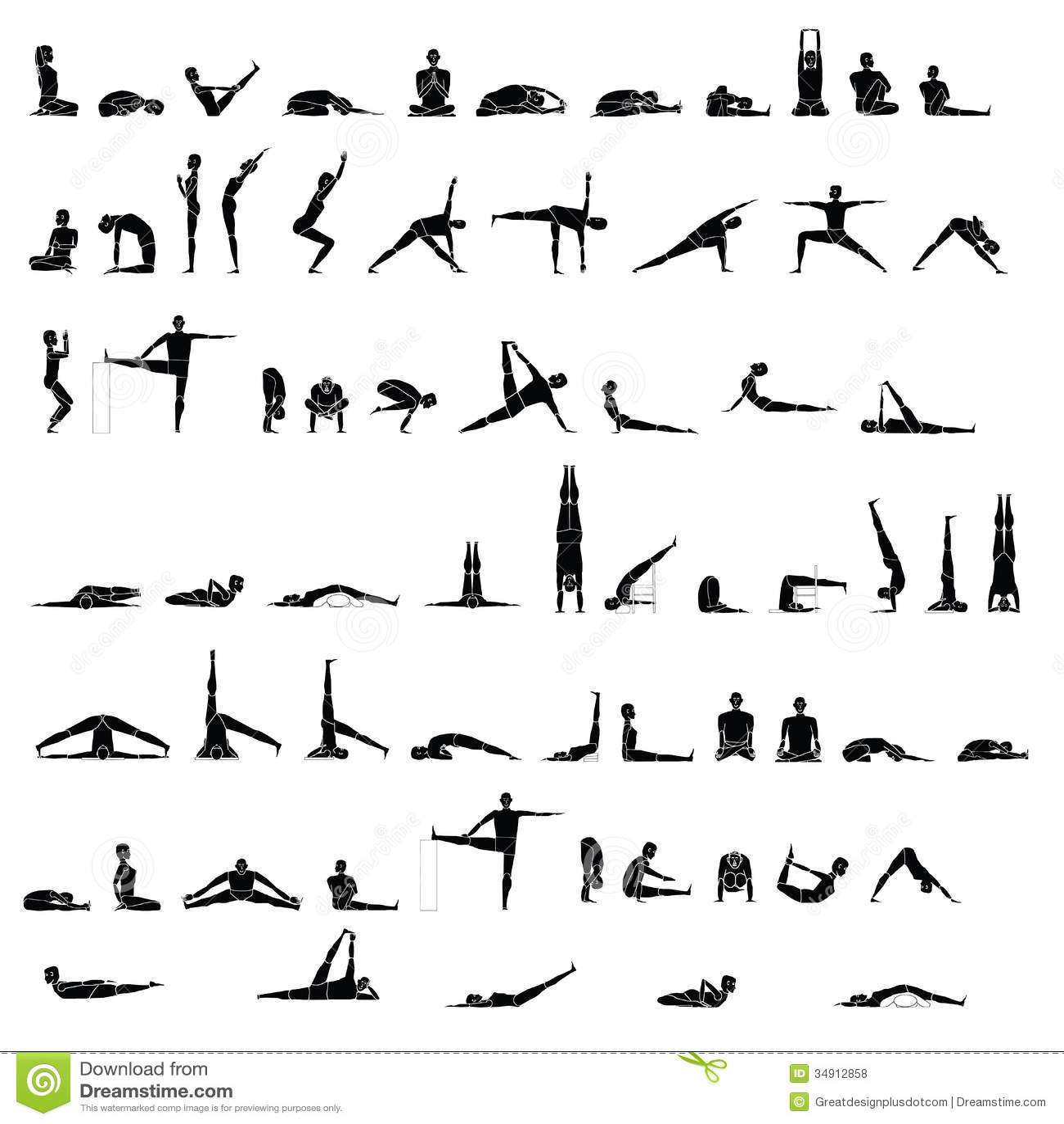 Varie Pose Di Allungamento E Di Yoga Illustrazione