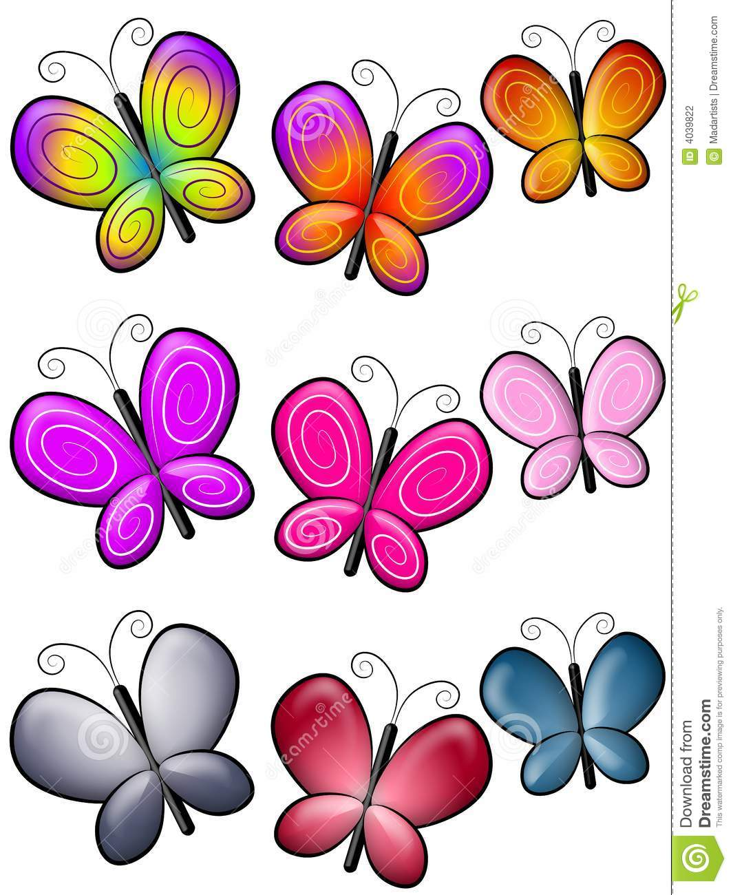 Various Colourful Butterflies Clip Art Stock Illustration Illustration Of Assorted Clip 4039822