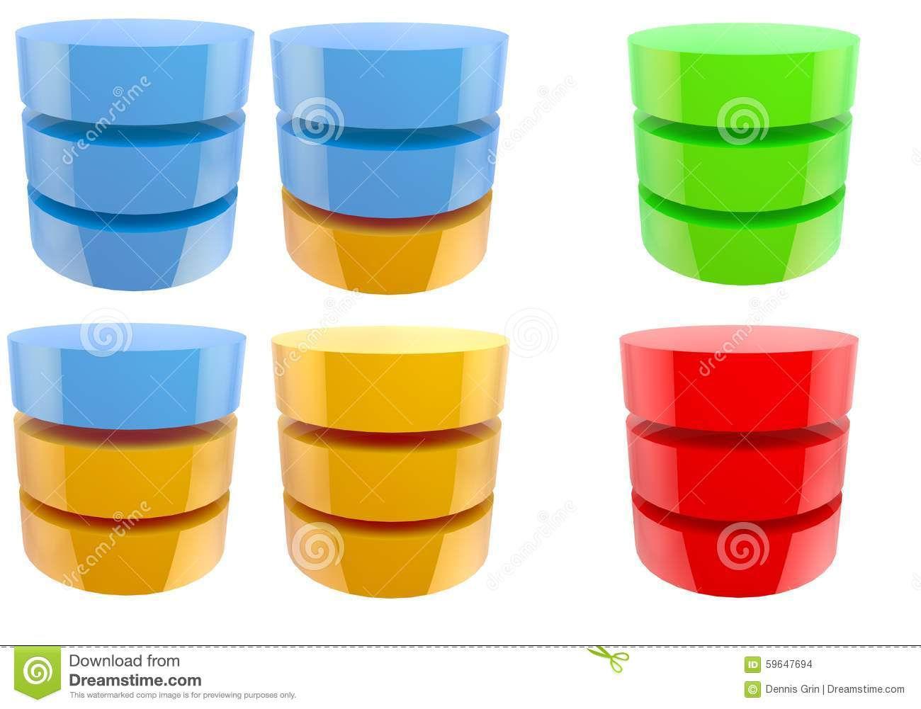 Various Database Icons Storage Hdd Storage Status Symbols Stock Illustration