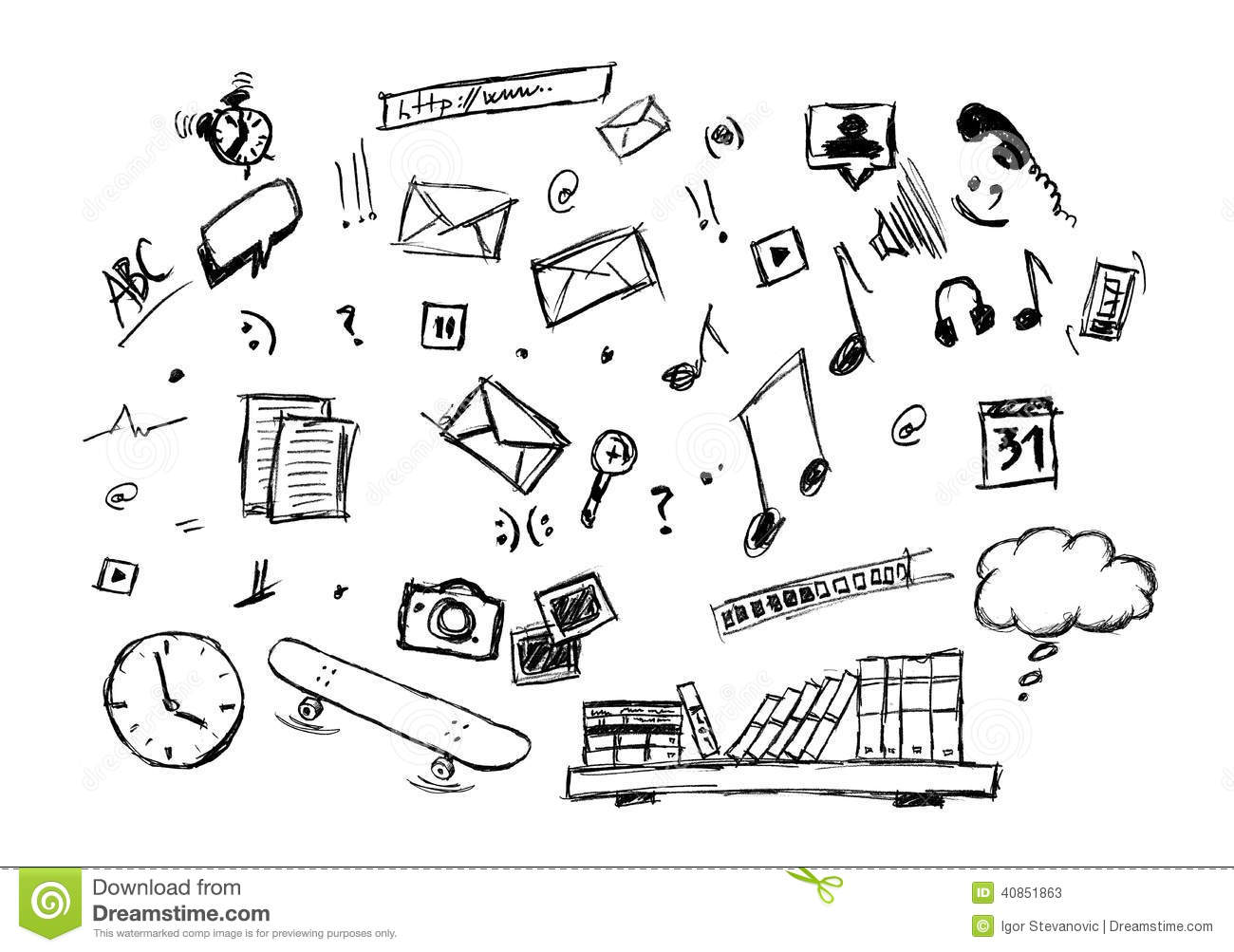 Various Doodle Drawing Of Lifestyle Icons Stock