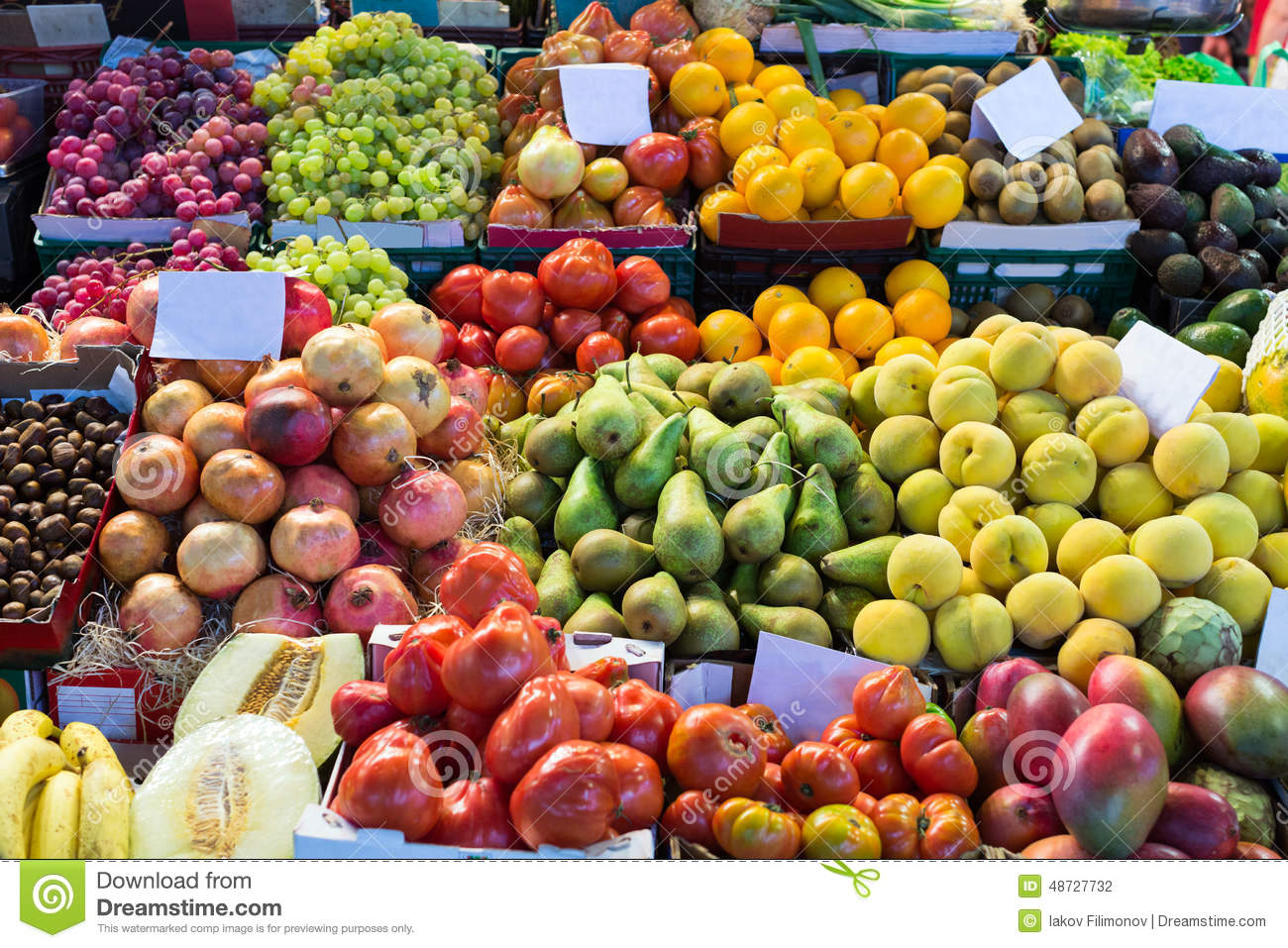 Various Fruits On Spanish Market Stock Photo