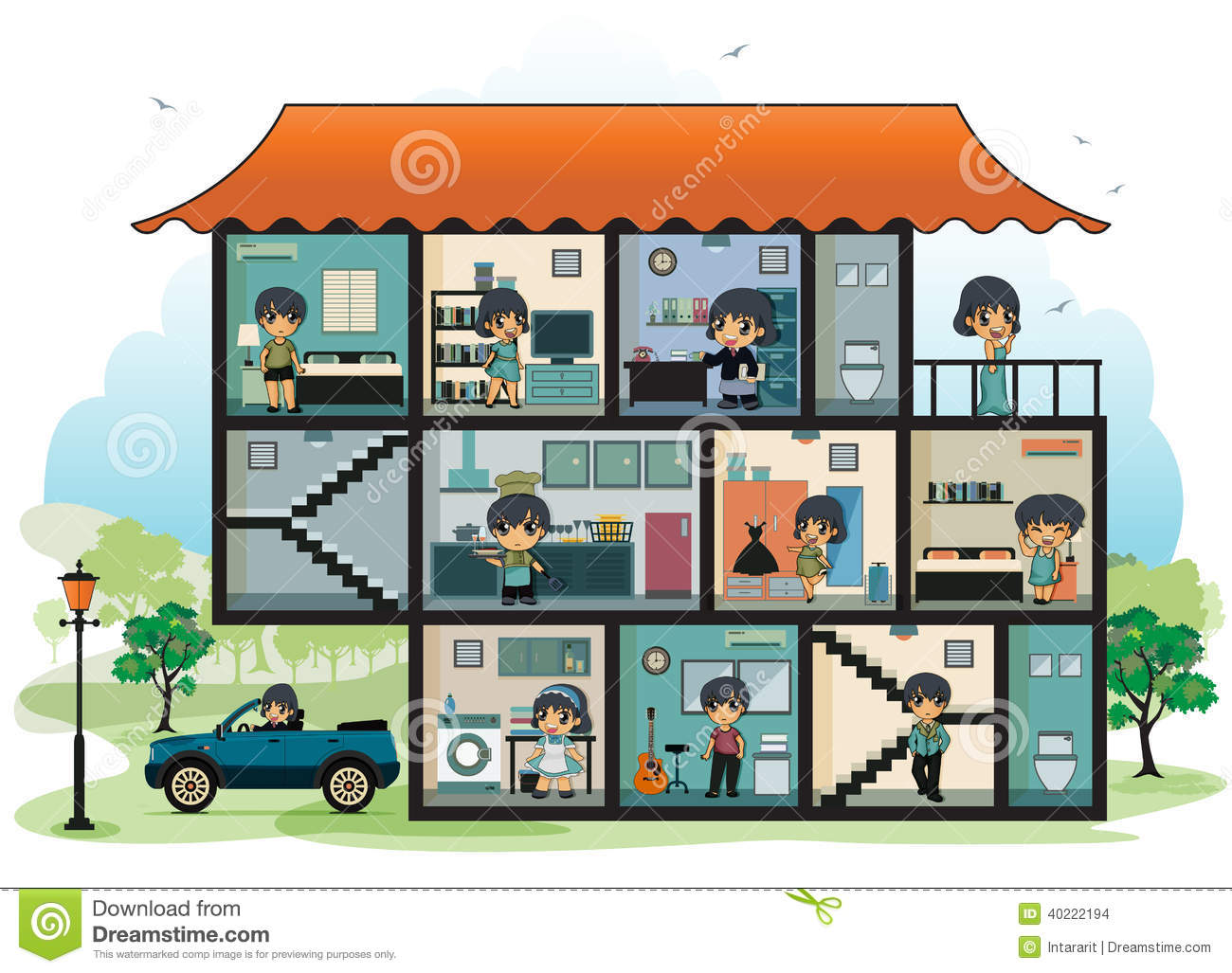 Various Rooms In The House Stock Vector Illustration Of