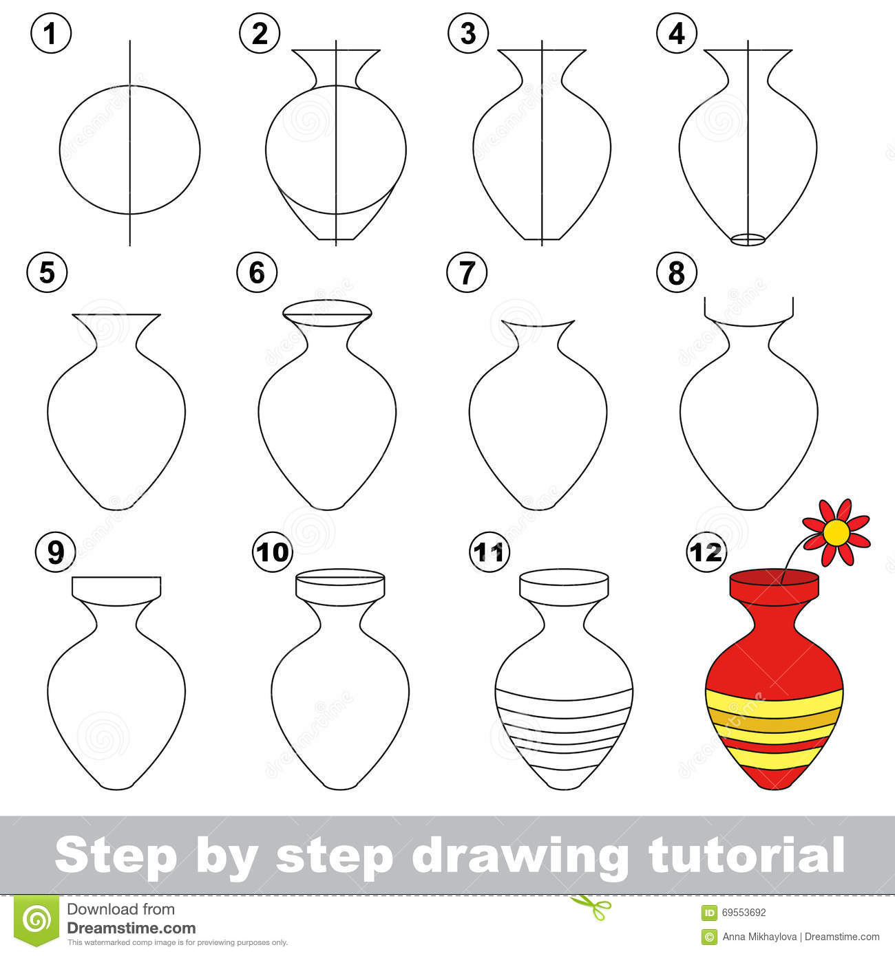 Vase Drawing Tutorial Stock Vector Illustration Of Baby